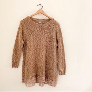 Olivia Sky Textured Layered Lace Hem Long Sweater